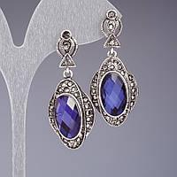 Серьги с зеркальными синими кристаллами 4,5см