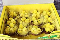 Набор цыплят в коричневом гнезде с перышками, 12 шт/уп, оптом