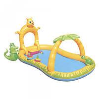 Детский надувной игровой центр Bestway 53030 Джунгли с душем и навесом