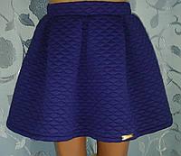 Детская синяя юбка со складками и на резинке