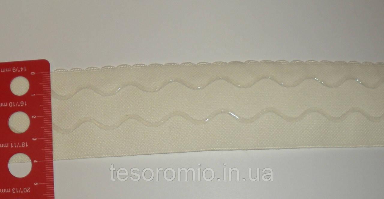 Резинка с силиконом широкая 40мм, молочная