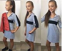 Стильное платье Лоранж с капюшоном 128 см, фото 1