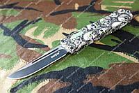 Нож выкидной с фронтальным выбросом Green skull