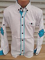 Стильная стрейчевая рубашка для мальчика 6-14 лет (белая1705) (пр. Турция)