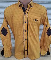Стильная стрейчевая рубашка для мальчика 6-14 лет (горчица1705) (пр. Турция)