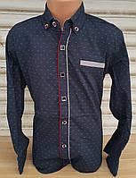 Стильная стрейчевая рубашка для мальчика 6-14 лет (темно синяя1702) (пр. Турция)