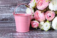 Ведерко декоративное 5 см розового цвета