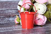 Ведерко декоративное 5 см красного цвета