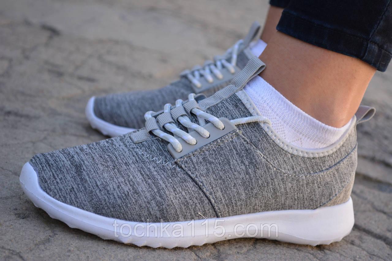 Женские кроссовки Nike Roshe Run Найк серые, копия