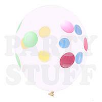 """Надувные шарики кристалл Полька 12"""" (30 см), 100 шт, фото 1"""