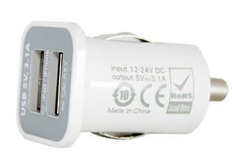 Автомобильное зарядное устройство в комплекте 2xUSB: PDA, MP3, AUTO; 3.1A