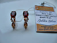 Золотые сережки с ГРАНАТОМ 2.62 грамма ЗОЛОТО 585 пробы