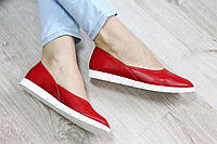Балетки кожаные красные