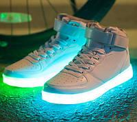 Белые светящиеся LED кроссовки Высокие