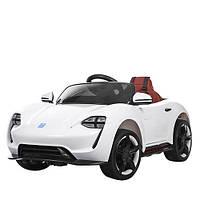 Детский электромобиль Porsche M 3453 EBLR-1 белый, мягкие колеса и кожаное сиденье