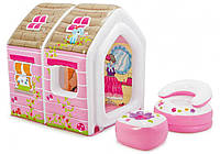 Игровой центр-домик надувной Intex Принцессы с мебелью 48635