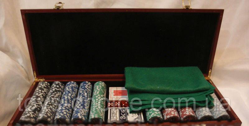 Покерный Набор В Деревянном Кейсе На 500 Фишек
