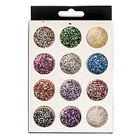 Набор шестигранников  для дизайна ногтей, цветные 12 шт , фото 1