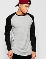 Мужской хлопковый лонгслив с длинными рукавами, серый с черным, кофта, футболка с длинным рукавом S M L XL