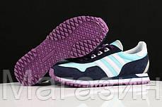 Женские кроссовки Adidas Originals ZX400 Blue Black Purple Адидас ZX черные, фото 2