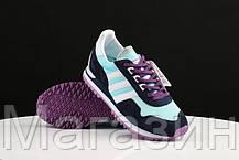 Женские кроссовки Adidas Originals ZX400 Blue Black Purple Адидас ZX черные, фото 3