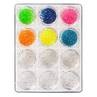 Набор  для дизайна ногтей 6 белых + 6  цветных в контейнере , фото 1