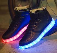 Чёрные светящиеся LED кроссовки Высокие
