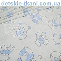 """Ткань хлопковая Bora """"Мишка в свитере"""", голубой цвет ( № 681 б)"""