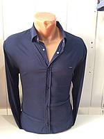Мужская рубашка однотонная темно-синяя