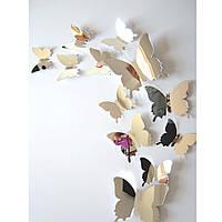 Бабочки для декора 3D зеркальные, для дома, DIY