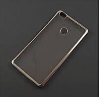 Чехол TPU для Xiaomi Mi Max прозрачный серебристый хром