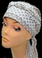 Бандана  женская Голубка Горох  стильная, модная, летняя, красивая  из хлопка
