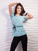 Бирюзовая женская блузка с ласточками