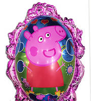 Фольгированный воздушный шарик зеркало свинка Пеппа