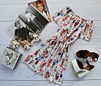 Летнее платье «Трансформер» три варианта носки, супер яркий принт: девочки на белом