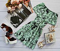 Летнее платье «Трансформер» три варианта носки, супер яркий принт: завитки на мятном