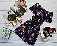 Летнее платье «Трансформер» три варианта носки, супер яркий принт: косметика