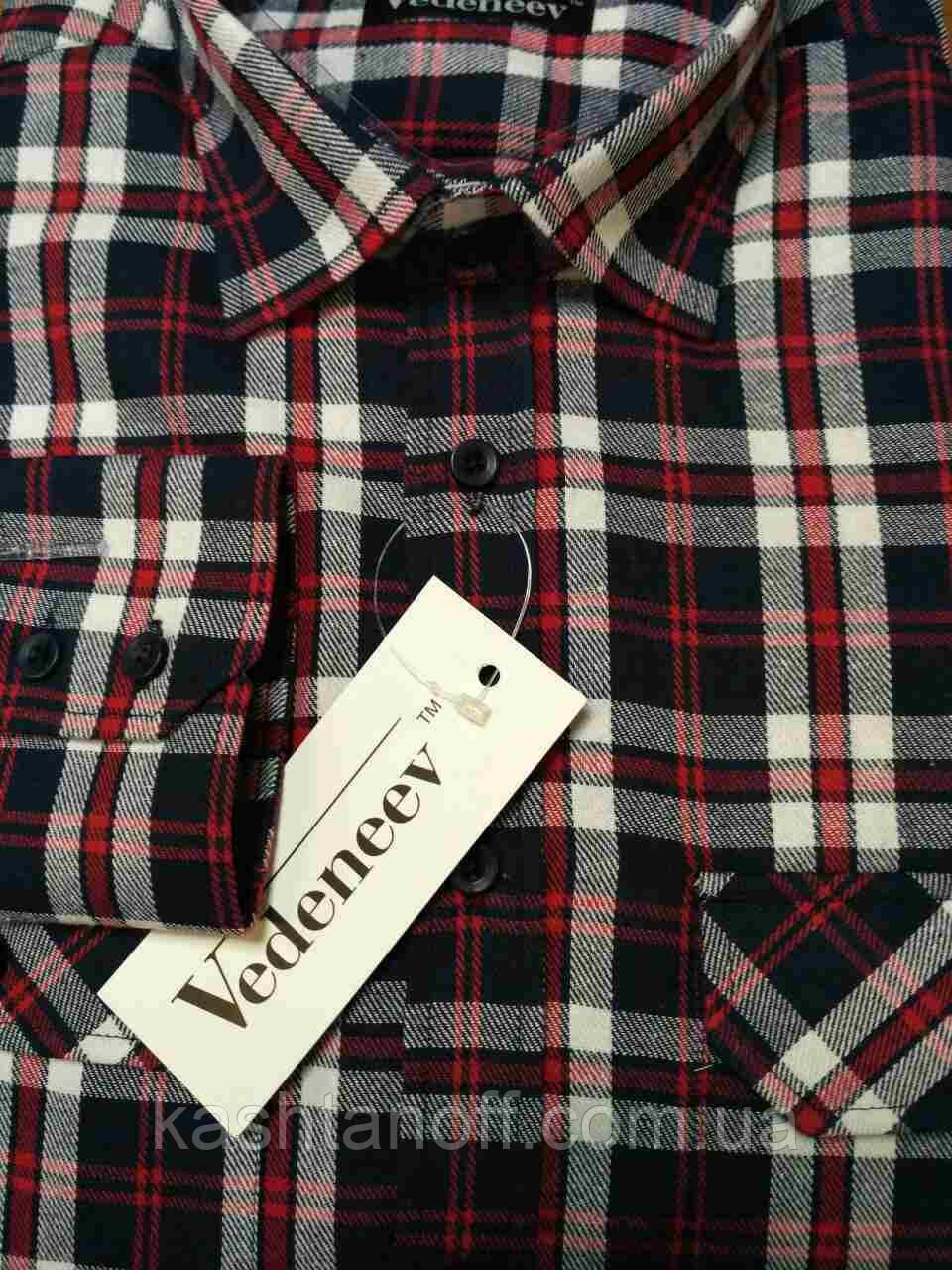 897aa45f1ed Сине-красная фланелевая рубашка в клетку с двумя карманами -  Интернет-магазин КАШТАН Мужская