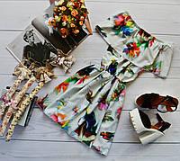 Летнее платье «Трансформер» три варианта носки, супер яркий принт: облик девушки на белом