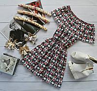 Летнее платье «Трансформер» три варианта носки, супер яркий принт: черные сердца на белом