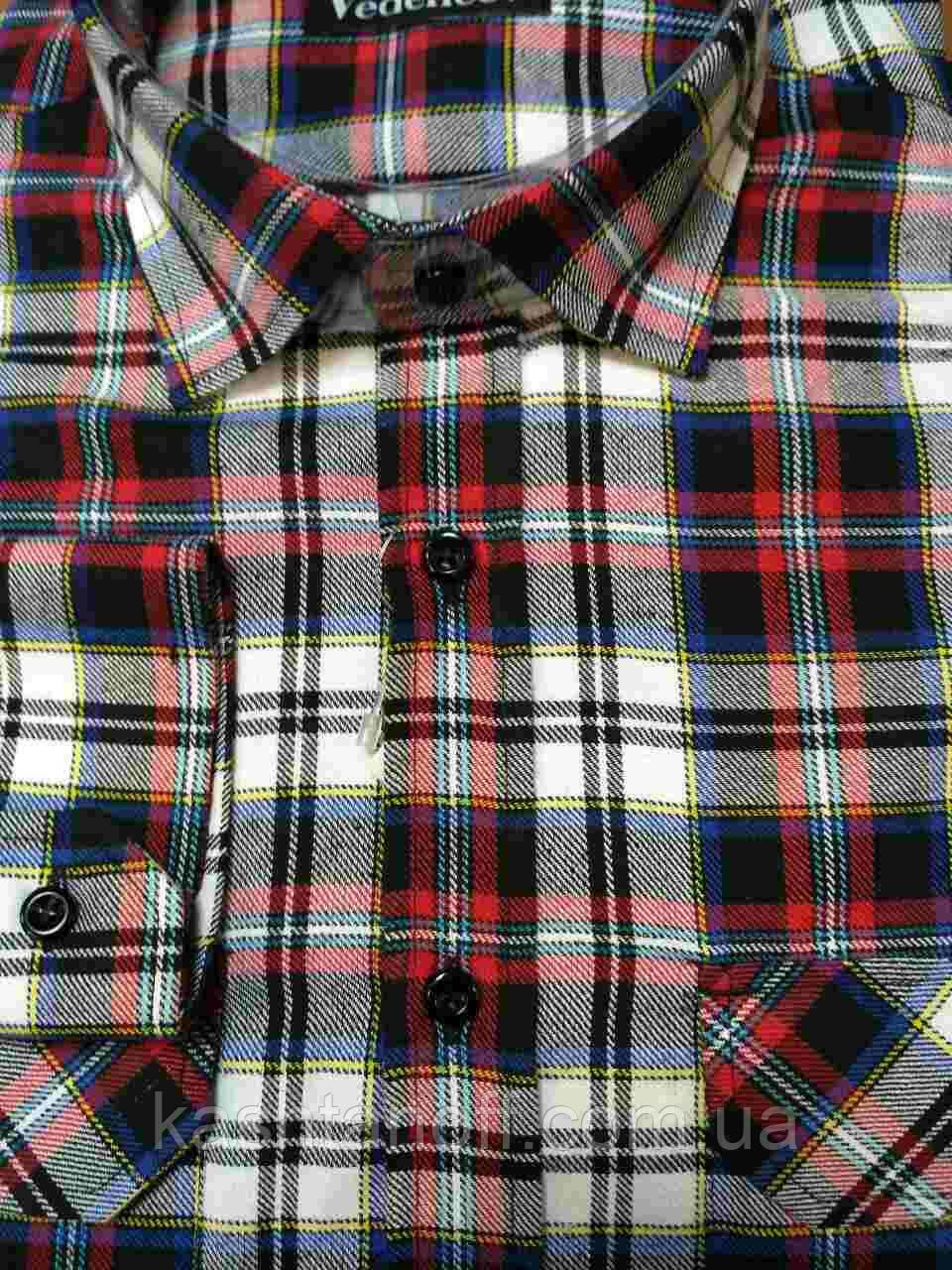 Черно-красная фланелевая рубашка в клетку с двумя карманами