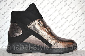 Сникерсы женские модные эко кожа с замшевыми вставками, фото 2