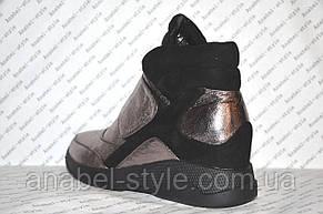 Сникерсы женские модные эко кожа с замшевыми вставками, фото 3