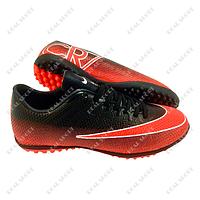 Обувь футбольная сороконожки Nike Mercurial CR7 Black FB180005 (р-р 36-45, черно-оранжевый)