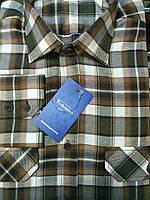 Рубашка молодежная коричнево-горчичная клетка, с двумя карманами
