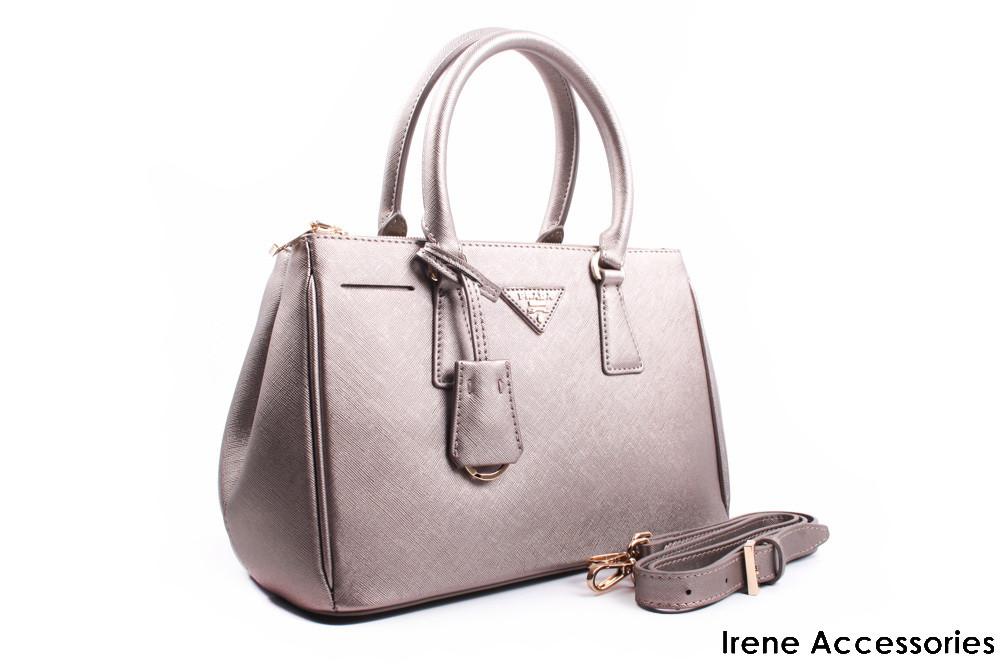 Элегантная сумка PRADA бронза, эко-кожа, прямоугольная, средняя