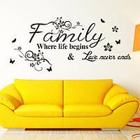 Наклейка виниловая My Family на стену