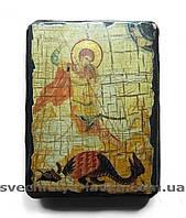 Георгий Победоносец - афонская икона на дереве 13 см х 17 см х 3 см