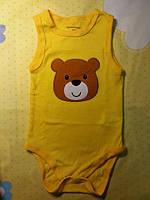 """Бодик-майка для детей, желтая, """"Мишка"""" 3мес"""