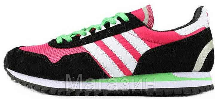 Женские кроссовки Adidas Originals ZX400 Hyper Pink Black White Lime Green Адидас ZX черные